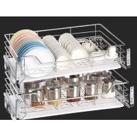 Space Saver Pull Out Storage Baskets / Silver Pull Out Baskets For Kitchen Cabinets Manufactures