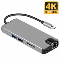 Type-C to HDMI Adapter 8 in 1 Aluminum with Gigabit Ethernet,SD/TF Card Reader,2 USB 3.0 Ports,Type C Charging Port&VGA Manufactures