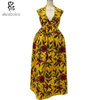 Sexy African Print Dresses Sleeveless Deep V neck African Designs Long Dress Manufactures