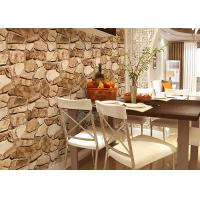 3D Effect Stone Pattern Washable Vinyl Wallpaper With Foam Process Natural Style Manufactures