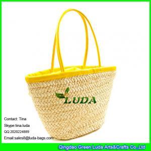 China LUDA light yellow genuine leather handbags cornhusk straw beach bag sets on sale