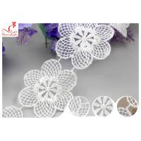 Azo Free Dyeing OEKO - TEX Nylon Lace Trim / Tulle Floral Embroidered Mesh Fabric Manufactures