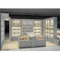 Quality Shopping Mall Retail Shoe Store Fixtures With Tall Cabinet And Tables Modern Style for sale