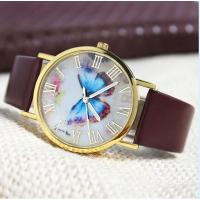 2015 New Fashion Butterfly Style Leather Band Analog Quartz Wrist Watch Womens watches wholesale Manufactures