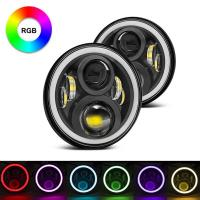 7 Inch Round RGB Halo Car Lights Bluetooth Control Headlights High / Low Beam For Driving Light Manufactures