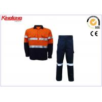 Customize Mens Hi Vis Clothing Safety Cotton Twill Fabric Long Sleeve Shirt And Pants Manufactures
