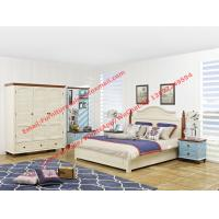 Vaulted chapel Mediterranean design bedroom furniture suite in matt white painting and Blue Nightstand with drawers Manufactures