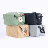 Brown Waterproof Cosmetic Bag Waxed Canvas Material 9 . 5 * 4 * 4 . 5CM Manufactures