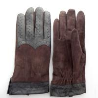 Plain Type Driving Mens Brown Leather Gloves , Suede Palm Leather Gloves Manufactures