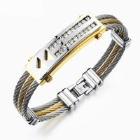 Stainless Steel Three Rows Cable Bangle With Double Rows Zircon Manufactures