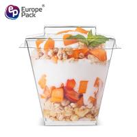 China Party supplies dessert square food grade hard plastic cups with lid on sale