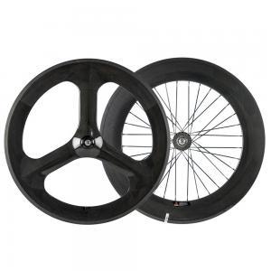100% 3 Spoke Track Bicycle Wheels 700 88mm Road Tubular Clincher 3K Matte Finish Manufactures