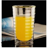 China Customized borosilicate Double layer heat-resistant glass threaded pattern cup for coffee and wine on sale