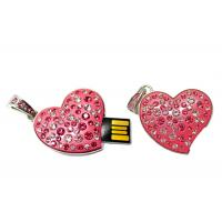 Pink Heart Shaped Crystal USB Flash Drive Memory Stick Waterproof Push and Pull Gift U Disk Manufactures