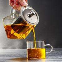 China 2018 new design square shape pyrex glass teapot with infuser on sale