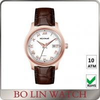 Fancy Roman Numbers Genuine Leather Watches For Diver IP Rose Gold Manufactures