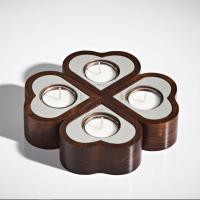 China Home Decoration Unique Jar Candles Wooden Style Tealight Candle Holder on sale
