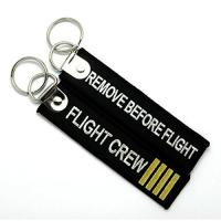 China Remove Before Flight Flight Crew Fashion Embroidery Key Chain Key Ring Keychain Key Tag on sale