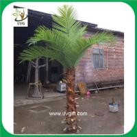 China UVG PTR018 indoor use 3 meters plastic palm tree artificial leaves with natural bark on sale