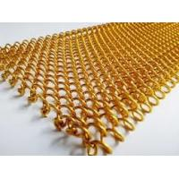 Hotel Decoration Drapery Aluminum Coil Mesh Curtain Space Divider Woven Wire Chain Mesh Curtain / Coil Drapery In Brass Manufactures