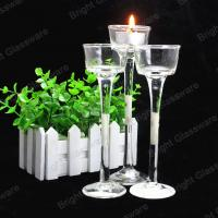 Long-stemmed crystal tall glass candle holders for weddings Manufactures
