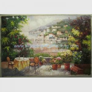 China Handmade Mediterranean Canvas Painting European Garden Scenery Oil Painting on Linen on sale