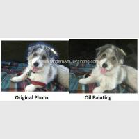 China Pet Custom Oil Painting Portraits Personalized Dog Portrait Painting Unique Gift on sale