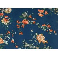 Non Stretch 100% Cotton Floral Corduroy Fabric Blue For Luggage / Mattress Manufactures