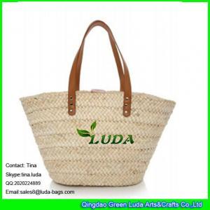 China LUDA handmade straw handbag simple natural corn husk straw bag on sale