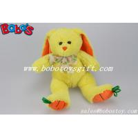 9.5 Baby Gift Toy Yellow Plush Stuffed Bunny With Embroidery Carrot Feet Manufactures