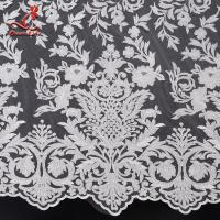 2019 Wholesale 131CM White Color Cloth French Embroidered  Bridal Lace Fabric Manufactures