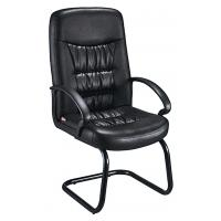 Comfy Non Swivel Desk Chair , Black Leather Meeting Room Chairs With Arms Manufactures