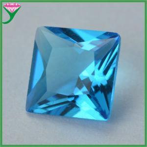 Square princess cut aquamarine decorative colored glass wholesale semiprecious stones Manufactures