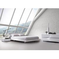 King Size White High Gloss Bedroom Furniture Sets Low Back Upholstered Headboard Bed Manufactures