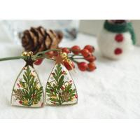 Christmas Tree Green + Red Clip-on Earrings Woman 14k Gold Lighted For Girl Friend Manufactures