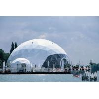 White PVC Lightweight Dome Tent , 6m Diameter Geo Dome Tent With Glass Door Manufactures