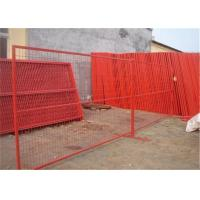 Red Temporary Mesh Fencing With Plastic Feet And Iron Feet For Construction Site Manufactures