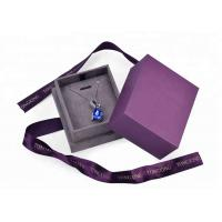China Purple Velvet Cardboard Jewelry Box With Necklace Hanger Window Paper Lid Luxury on sale