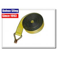 Yellow Wire Hook Truck Winch Straps , Vehicle Recovery Strap Lightweight Manufactures