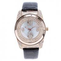 China Designer Diamond Watches with Leather Band on sale