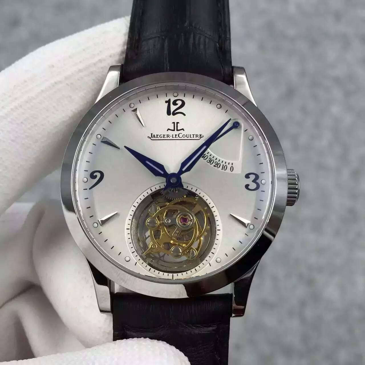 JC Real Tourbillon Power Reserve Hand Movement Watch Black Leather Strap Manufactures