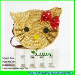LUDA 2016 fashion cute girls wheat straw hello kitty beach handbag Manufactures