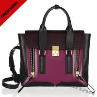 China Luxury Bicolor Stylish Womens genuine Leather Handbags With Long Shoulder Strap on sale