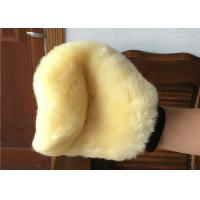 Genuine Short Soft Merino Wool Wash Mitt Beige Color For Reducing Scratches Manufactures