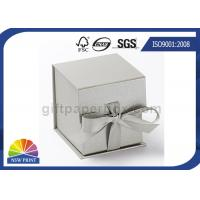 Logo Printed Jewelry Gift Box with Ribbon Closure , Rigid Cardboard Paper Gift Box Manufactures