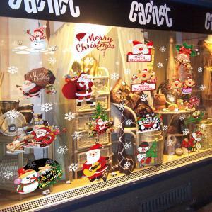 China Shop Christmas Window Stickers Kids Living Room Decoration Santa Claus Snowman Penguin on sale