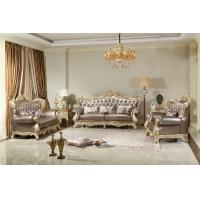 French style Luxury design of Living room Sofa sets 1+2+3  used Beech wood Carving and Import Italy Leather Furniture Manufactures
