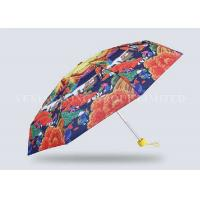 Adult Nano Leak Proof 5 Fold Umbrella Exquisite Printing Pongee Fabric Cloth Material Manufactures