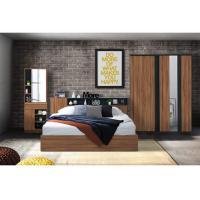 Buy cheap Wulnut Wood Grain Melamine Brown Bedroom Furniture Large Storage Space from wholesalers