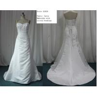 A-line Sweetheart Neckline Spaghetti Straps Satin Real Sample Wedding Dresses /Bridal Gown Manufactures